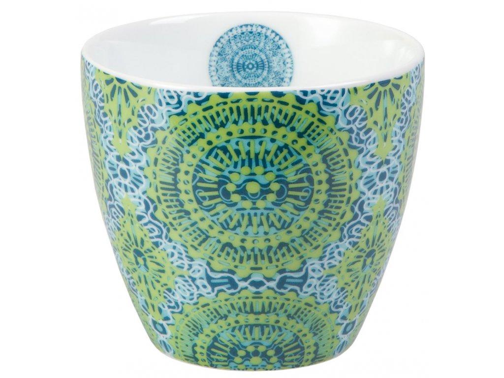 Nanji - Fine Bone China porcelánový hrnek bez ucha, 0,3 l, zelený s mandaly