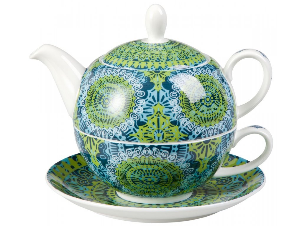 Nanji - Fine Bone China, Tea for one, čajová porcelánová souprava 0,25 l /0,5 l s mandaly