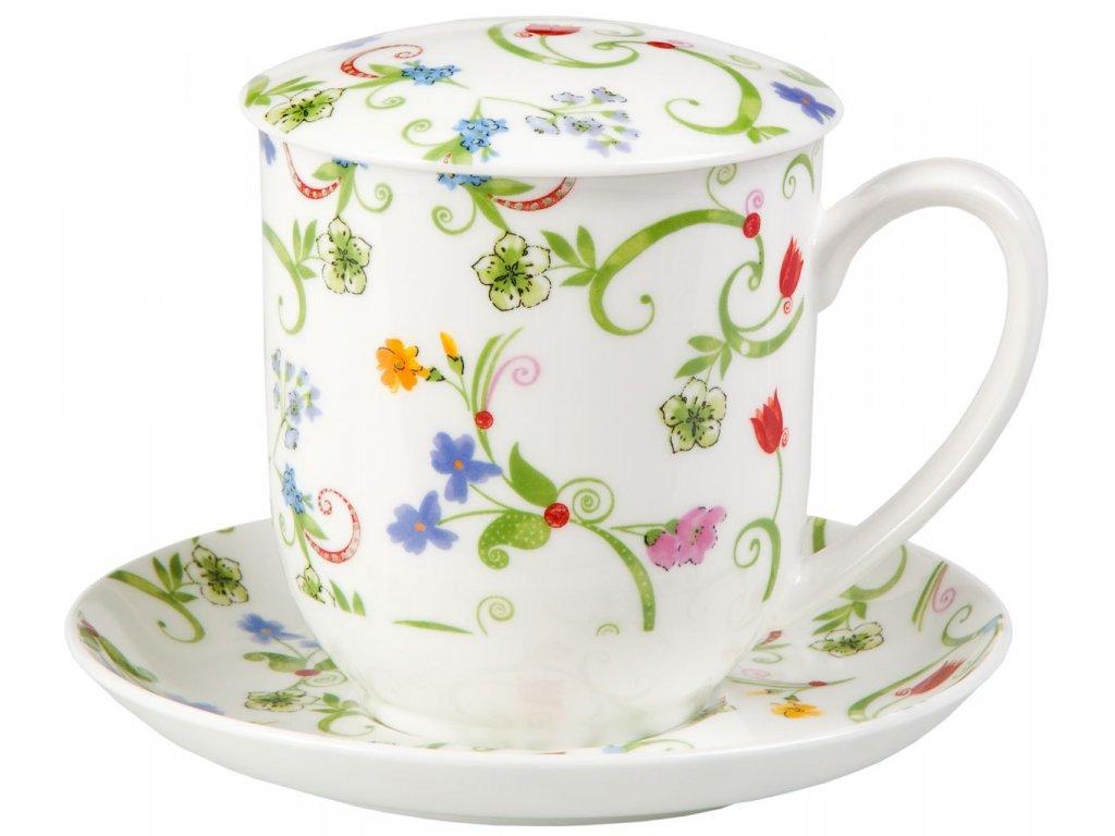 Fleurette - Fine Bone China, porcelánový hrnek s podšálkem, pokličkou a sítkem 0,3 l, květiny