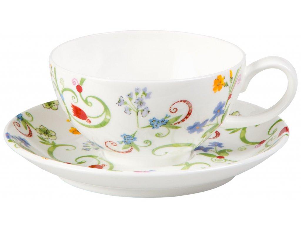 Fleurette - Fine Bone China, porcelánový šálek s podšálkem, 0,18 l, květiny