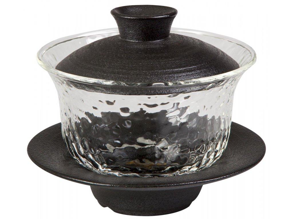 Ito - porcelánový - skleněný Gaiwan (Zhong), 0,15 l černý