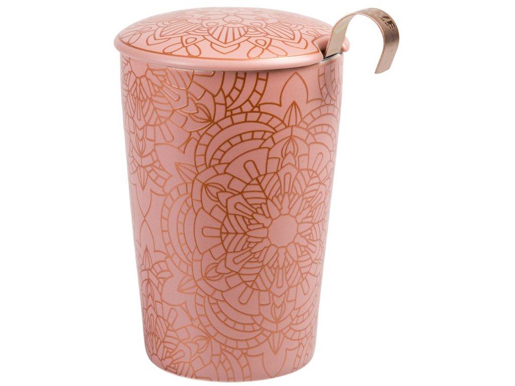 Mandala - dvoustěnný porcelánový hrnek bez ouška se sítkem a pokličkou 0,35 l, růžový