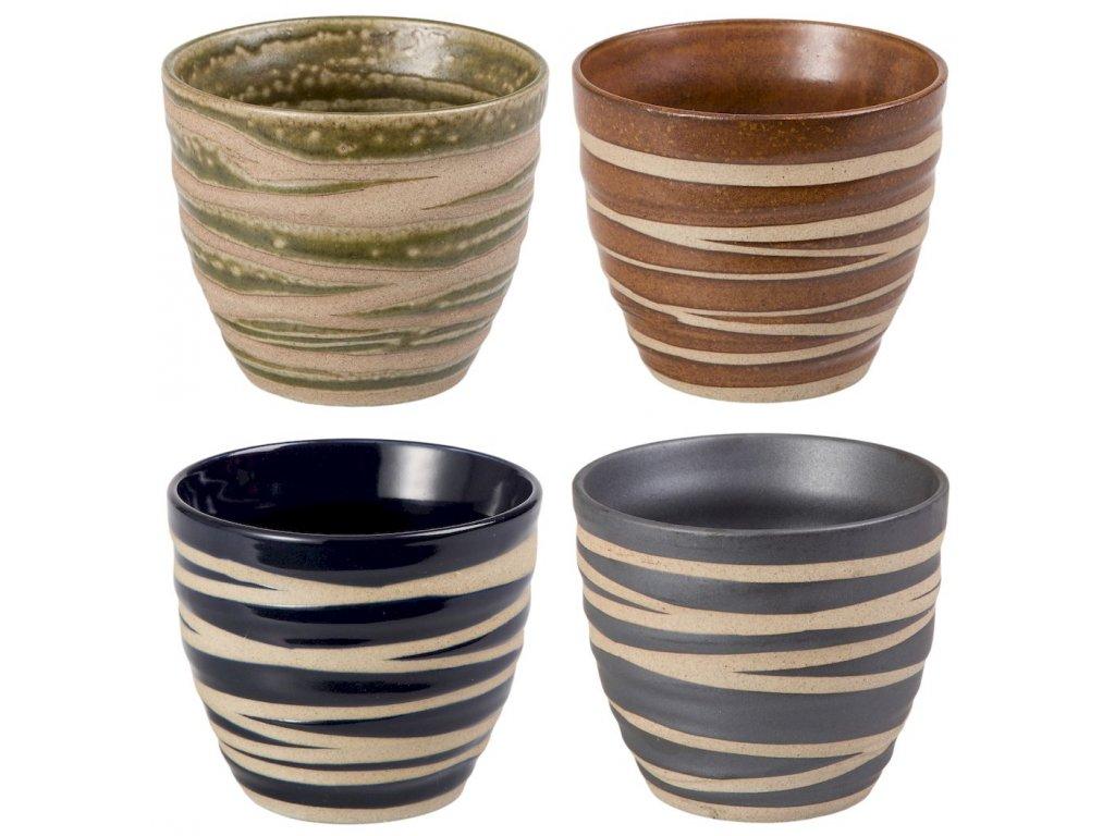 Aiko - porcelánové hrnky bez ouška, 4 ks, 0,18 l, proužek