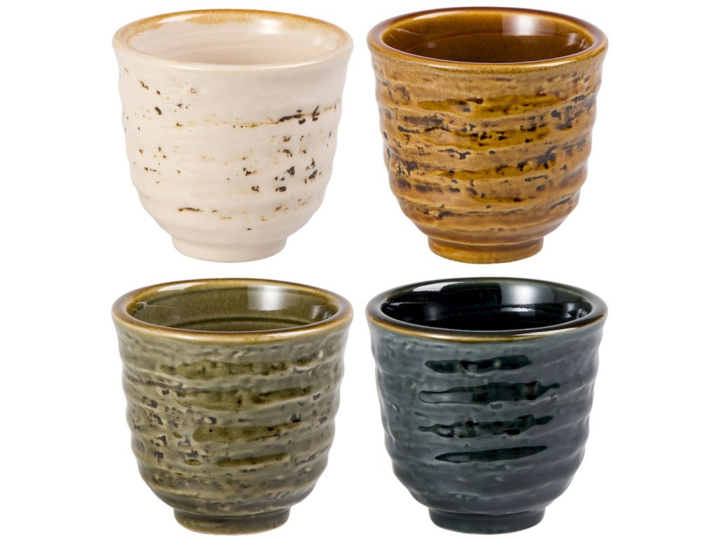 Mina - porcelánové hrnky bez ouška, 4 ks, 0,15 l