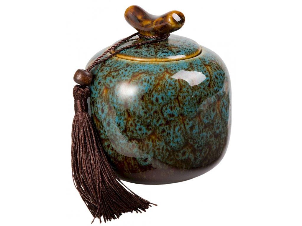 Nyoko - porcelánová dóza 200 ml, modrá se střapcem