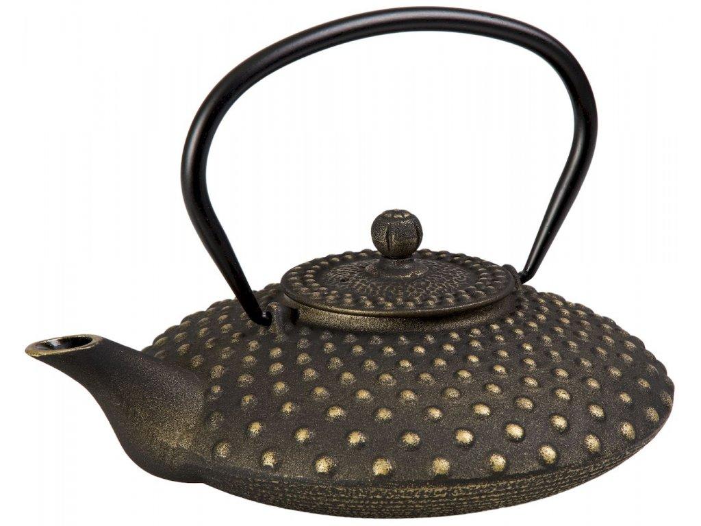 Kaya - litinová čajová konvice se sítkem 0,8 l, černá, zlatá