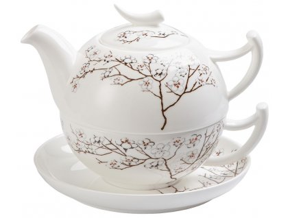 Bílá třešeň - fine bone china tea for one, čajová porcelánová souprava 0,25l /0,5 l