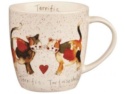 Želvovinová kočka, Terrific Tortoiseshelles - porcelánový hrnek s motivem kočky 0,4 l, Alex Clark