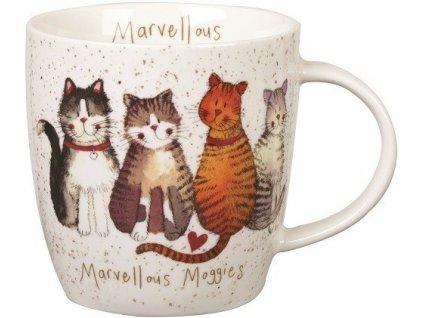Úžasné kočky, Marvellous moggies - porcelánový hrnek s motivem kočky, Alex Clark, 400 ml