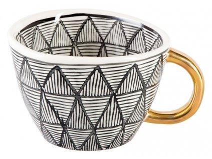 Lalia - keramický hrnek 0,2 l, černobílý se zlatým ouškem