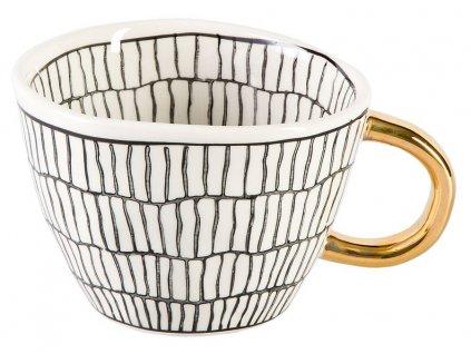 Lalia - keramický hrnek 0,2 l, proužek, černobílý se zlatým ouškem