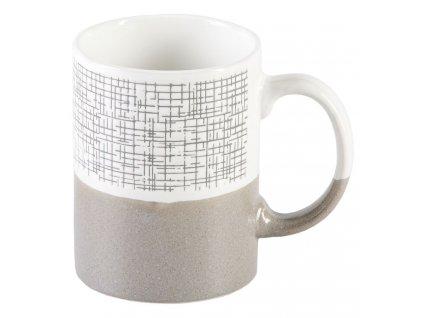 Milos - keramický hrnek 0,3 l mřížka, šedý