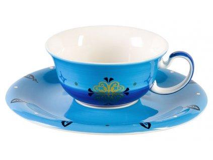 Sahir - keramický šálek s podšálkem 0,27 l, modrý