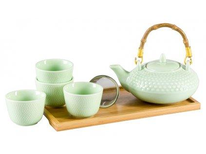 Tanaka -  porcelánová čajová souprava 0,1 l/ 0,5 l, zelená s bambusovým tácem