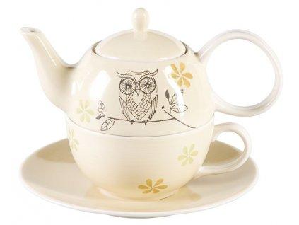Lutz - keramická čajová souprava 0,2 l/0,4 l, tea for one, motiv sova