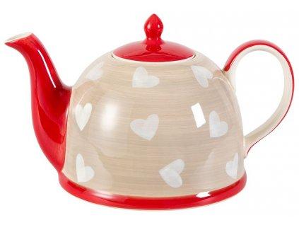 Corazon - keramická čajová konvička 1,9 l, motiv srdíčka