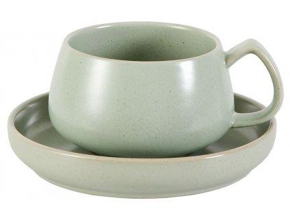 Hilma - porcelánový šálek s podšálkem 0,25 l, zelený