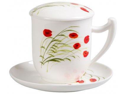 Caprice Vlčí mák  - fine bone china porcelánový šálek s podšálkem a e sítkem 0,35 l