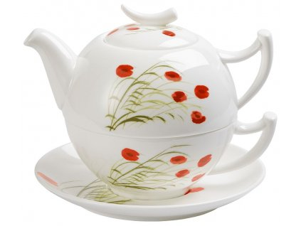 Caprice - Fine Bone China  Tea for one, čajová porcelánová souprava 0,25l /0,5 l,, vlčí mák