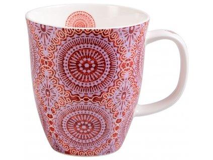 Sonji - fine bone china porcelánový hrnek 0,38 l, červený s mandaly