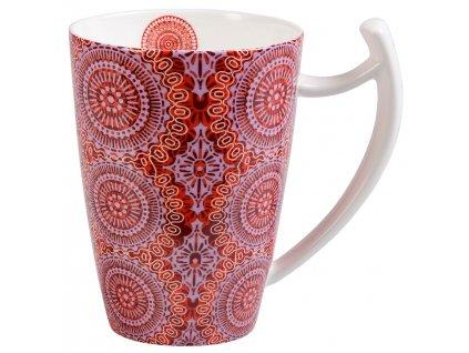 Sonji - Fine Bone China porcelánový hrnek 0,5 l, červený s mandaly