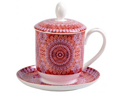 Sonji  - Fine Bone China porcelánový hrnek s podšálkem, sítkem a pokličkou  0,35 l, červený s mandaly