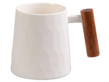 Blanca - porcelánový hrnek s dřevěným uchem 0,32 l, bílý