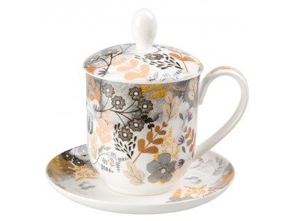 Astrid - Fine Bone China, porcelánový hrnek s podšálkem, pokličkou a sítkem 0,35 l, květiny