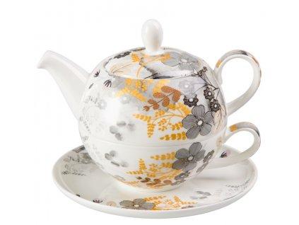 Astrid - Tea for one, Fine Bone China, čajová porcelánová souprava 0,25l /0,5 l, květiny