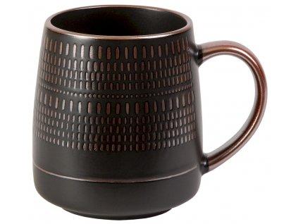 Jarl - keramický hrnek 0,5 l, čárky, černý, bronzový