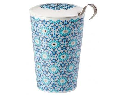 Andalusia - porcelánový hrnek bez ouška se sítkem a pokličkou 0,35 l, modrý