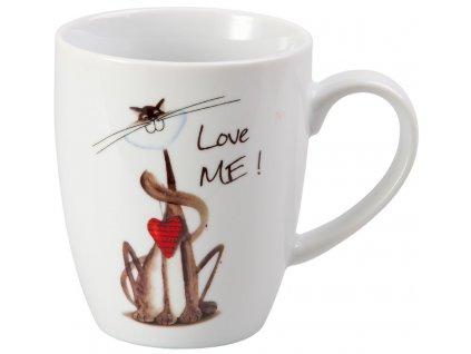 Whispi Love me - porcelánový hrnek 0,25 l, bílý, kočka