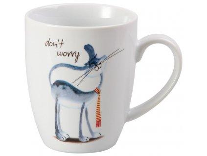Whispi Don't worry - porcelánový hrnek 0,25 l, bílý, kočka