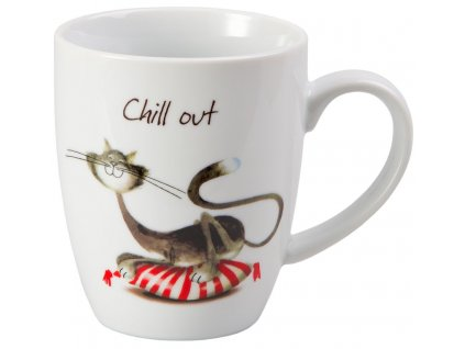Whispi Chill out - porcelánový hrnek 0,25 l, bílý, kočka