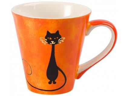 Mitsy - keramický hrnek 0,25 l, oranžový, kočka