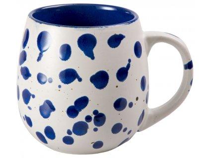 Kjell - keramický hrnek 0,48 l, modrý, puntík, buclák
