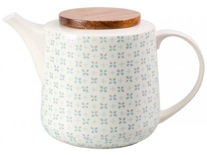 Hella - porcelánová konvička 1,4 l, zelené lístky