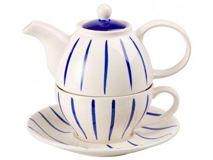 Hinnerk - keramická čajová souprava 0,2 l/0,4 l, tea for one, modré proužky