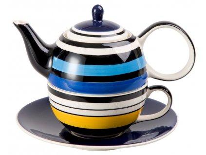 Vincent - keramická čajová souprava 0,2 l/0,4 l, tea for one, motiv proužky