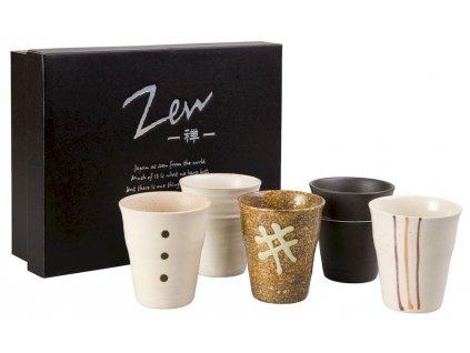 Zen - japonské keramické hrnky bez ouška, 5 ks, 0,15 l