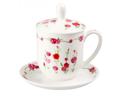 Rosalie - Fine Bone China, porcelánový hrnek s podšálkem, pokličkou a sítkem 0,35 l, květiny, růže
