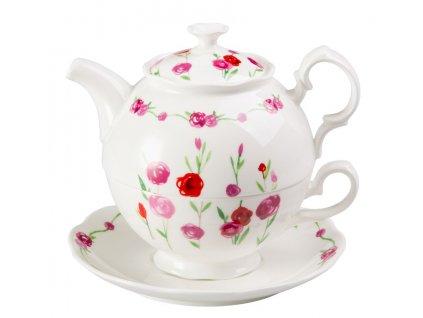 Rosalie - Tea for one, Fine Bone China, čajová porcelánová souprava 0,25l /0,5 l, květiny, růže