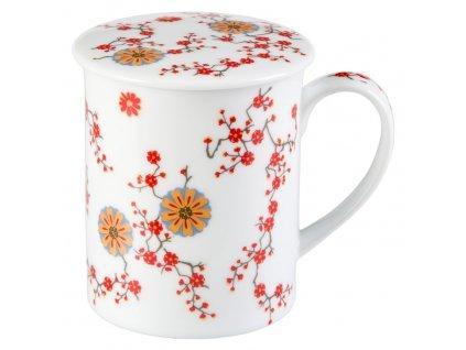 Ava - Fine Bone China, porcelánový hrnek s pokličkou a sítkem 0,35 l, bílý, květiny