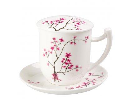 Cherry Blossom - Fine Bone China, porcelánový hrnek s podšálkem, pokličkou a sítkem 0,35 l, třešeň