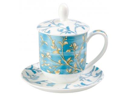 Enya - Fine Bone China, porcelánový hrnek s podšálkem, pokličkou a sítkem 0,35 l, modrý