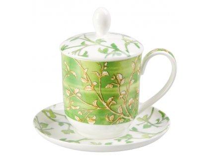 Yasmin - Fine Bone China, porcelánový hrnek s podšálkem, pokličkou a sítkem 0,35 l, zelený