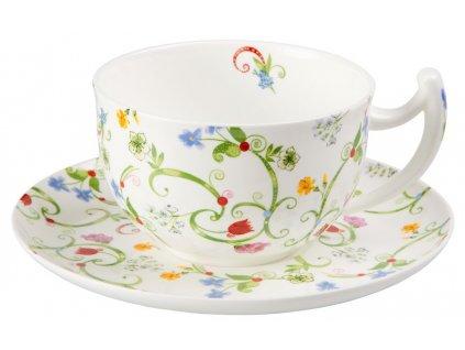Fleurette - Fine Bone China, porcelánový šálek s podšálkem, snídaňová sada, 0,5 l, květiny