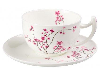 Cherry Blossom - Fine Bone China, porcelánový snídaňový šálek s podšálkem, 0,5 l, třešeň