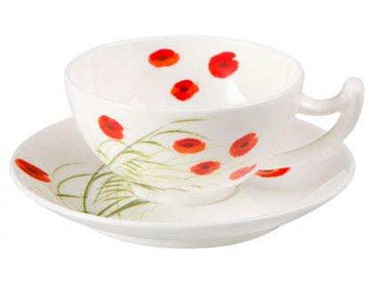 Caprice - Fine Bone China, porcelánový šálek s podšálkem, 0,35 l, vlčí mák