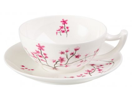 Cherry Blossom - Fine Bone China, porcelánový šálek s podšálkem, 0,35 l, třešeň